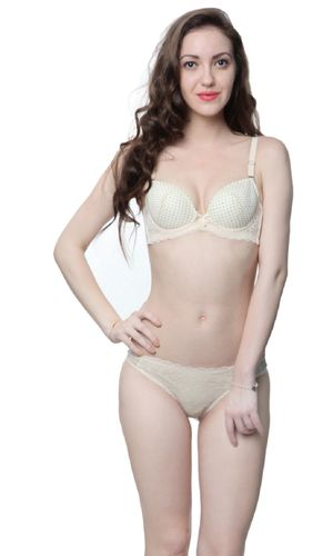 Glus Naughty Dots Transy Net Mesh Padded Underwired Bra & Bikini Set ,  Color - Nude Skin
