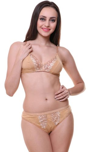 Glus Florance Full Cup Bra & Panty Set , Color- Nude.