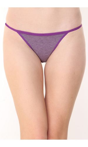 Glus Women Everyday Striped String Bikini Cut Panty , Color- Purple