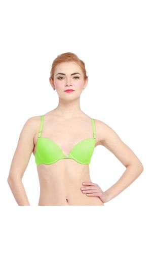 Glus Lady Love Front / Back Open Padded Underwire Bra , Color-Green