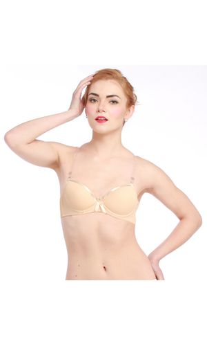 Glus Transparent Straps Satin Edge Push Up Underwire Bra , Color  - Nude Skin