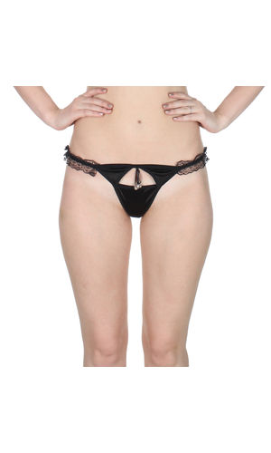 Black  Sleek Front Cut G-String