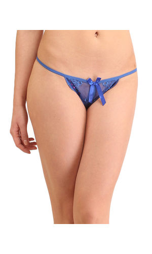 Black  Front & Back Open Crotch G-String