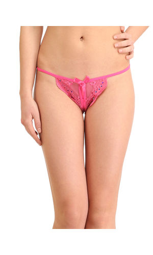 Magentta Front & Back Open Crotch G-String