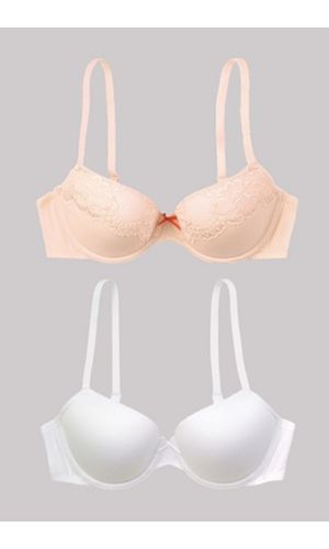 COMBO Offer Balconette Underwire Soft Padded Bra , Color-Shell White , Beige