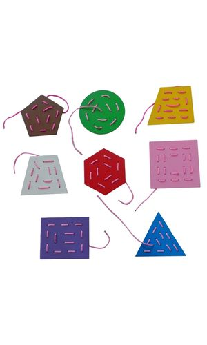 Threading Boards Geometric Shapes: Set of 8