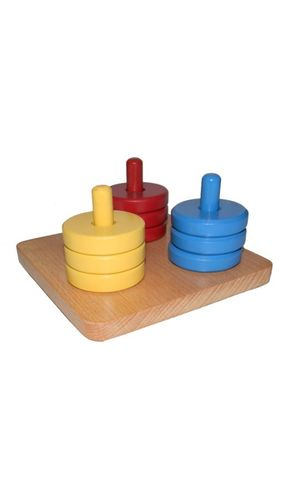 Coloured discs on Coloured dowel