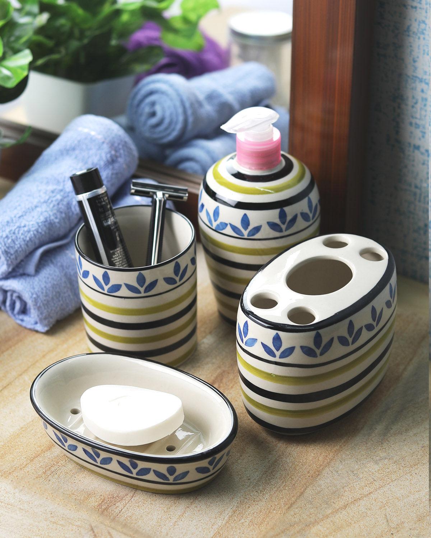 Ceramic Blue Leaf 4 piece Bathroom Accessories Set  sc 1 st  Vareesha & Bathroom Accessories
