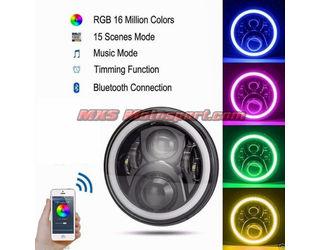 MXSHL499 Royal Enfield Bullet Headlight Halo Ring Angel Eye with Bluetooth APP Control