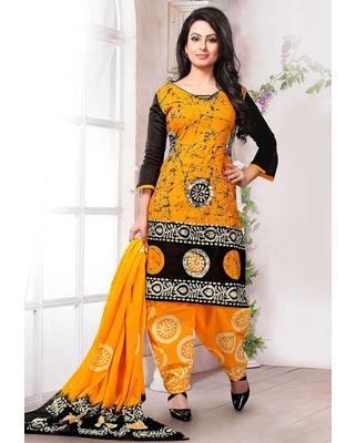 Batik Printed Punjabi Suit in Mustard and Black