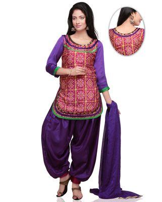 Bandhani Printed Crepe Punjabi Suit in Pink