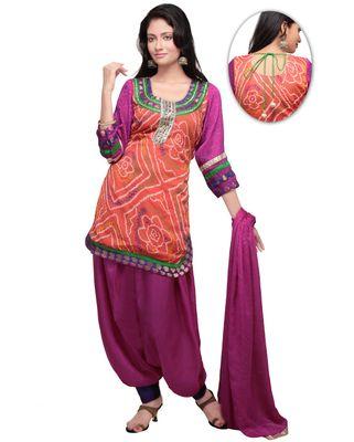 Bandhani Printed Crepe Punjabi Suit in Light Orange
