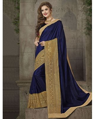 BLUE SILK SAREE WITH EMBROIDERY WORK