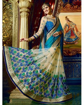 BLUE AND BEIGE NET SAREE WITH EMBROIDERY WORK