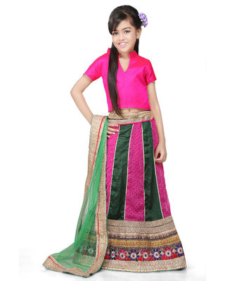 Embroidered Crape and Georgette Lehenga Sets in Fuchsia