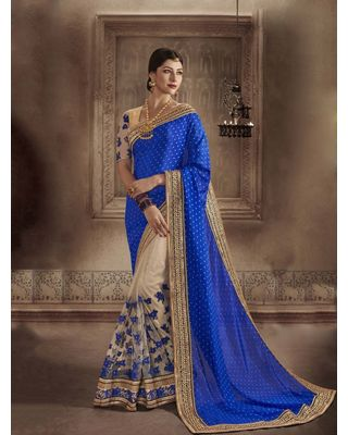 BLUE AND CREAM CHIFFON SAREE WITH EMBROIDERY WORK