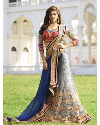 BLUE AND GREY GEORGETTE SAREE WITH EMBROIDERY WORK