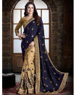BLUE AND BEIGE SATIN SAREE WITH EMBROIDERY WORK