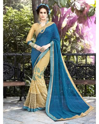 BLUE AND BEIGE GEORGETTE SAREE WITH EMBROIDERY WORK