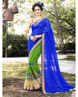 BLUE AND GREEN GEORGETTE SAREE WITH EMBROIDERY WORK