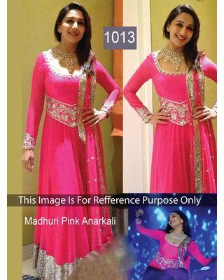 SALWAR.UK Salwarr.com Madhuri Pink Anarkali Bollywood Delight Ful Designer Suit