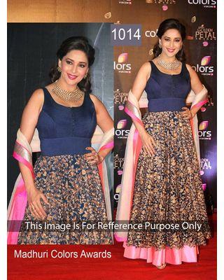 SALWAR.UK Salwarr.com Madhuri Blue Bollywood Artistic Designer Suit