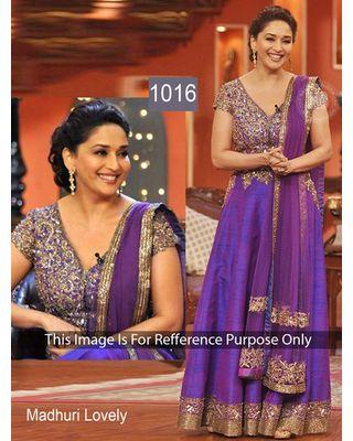 SALWAR.UK Salwarr.com Madhuri Purple Lovely Bollywood Designer Suit