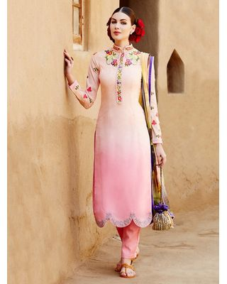 A175 SALWAR.UK CREAM AND PINK COTTON SATIN SUIT WITH EMBROIDERY WORK
