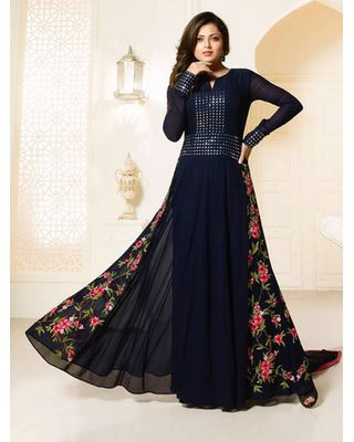 A153 SALWAR.UK BLUE GEORGETTE SUIT WITH EMBROIDERY WORK