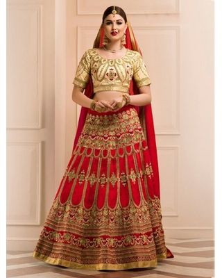 A172 SALWAR.UK BEIGE ART SILK LEHENGA CHOLI WITH EMBROIDERY WORK