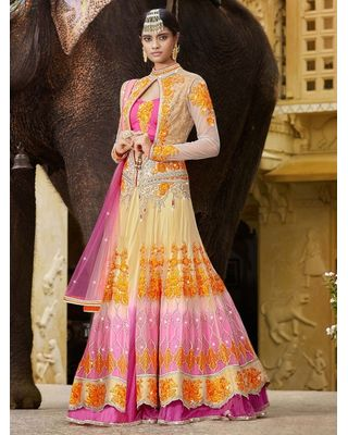 A177 SALWAR.UK CREAM AND PINK NET LEHENGA CHOLI WITH STONE WORK