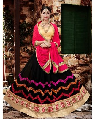 A186 SALWAR.UK BLACK GEORGETTE LEHENGA CHOLI WITH EMBROIDERY WORK