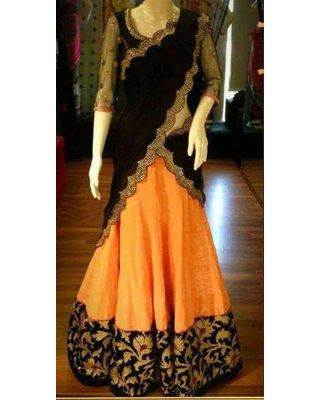A133 SALWAR.UK B369Orange Heavy Designer Lehenga Choli