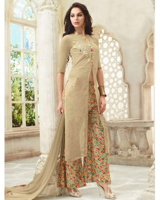 A180 SALWAR.UK BEIGE GEORGETTE SUIT WITH PATCH WORK