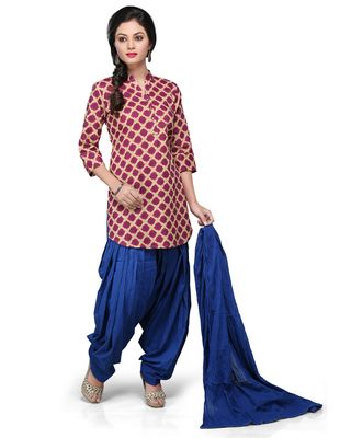 Double layered Georgette Jacquard Salwar Set in Red