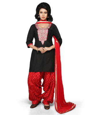Double Layered Net and Brocade Salwar Set in Blue