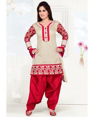 Beige & Red Designer Salwaar Suit  in Silk