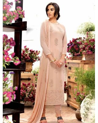 A176 SALWAR.UK BEIGE GEORGETTE SUIT WITH EMBROIDERY WORK