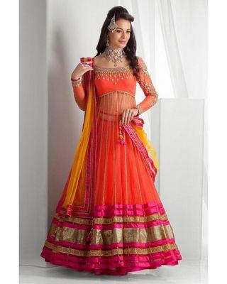 SALWAR.UK New Designer Orange Lehenga Suit