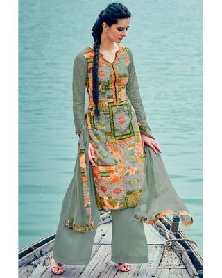 B107Green Color Cotton And Cambric Palazzo Salwar Kameez With Attractive Print Designs