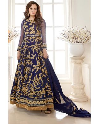 B101 Glamorous Blue Color Georgette And Silk Anarkali Salwar Suit Featuring Dia Mirza