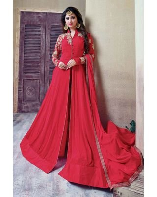 B111 Semi Stitched Designer Georgette Anarkali Suit In Pink Color With Embroidery Designs