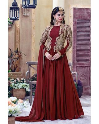 B114 Maroon Color Designer Embroidered Semi Stitched Long Anarkali Suit In Georgette Fabric