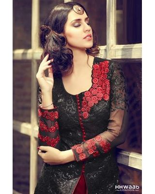 SALWAR.UK  GLITTERLY BLACK AND RED COLOUR CONCEPT LENGHA DRESS