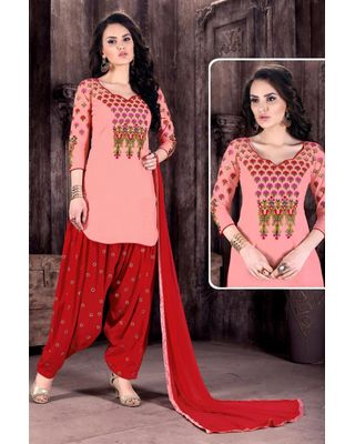 B148 Stunning Cotton Fabric Patiala Embroidered Salwar Kameez In Peach Color