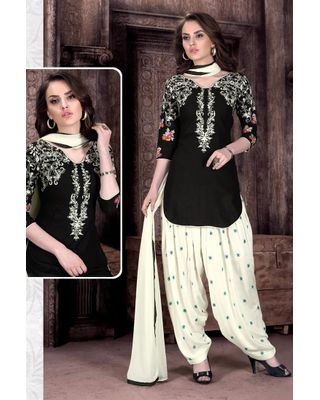 B151 Excellent Black Color Festive Wear Cotton Salwar Suit With Embroidery Work