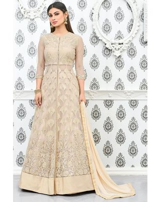 B152 Cream Color Party Wear Net Anarkali Suit With Embroidery Work