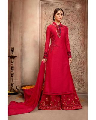 B 184 Red Color Designer Pakistani Style Embroidered Bhagalpuri Silk Palazzo Suit