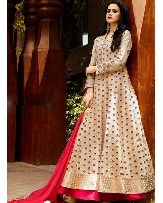 A139 SALWAR.UK Beige Art Silk Long Length Salwar Suits
