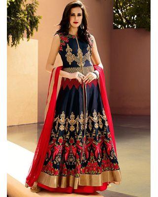 A147 SALWAR.UK Blue Art Silk Long Length Salwar Suits